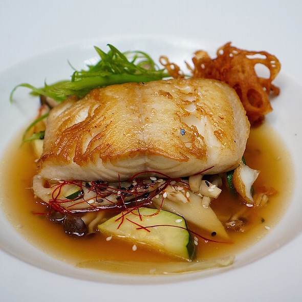 Sablefish, lotus root broth, heart of bamboo, zucchini, shimeji mushrooms, water chestnuts - YEW seafood + bar - Four Seasons Hotel - Vancouver, Vancouver, BC