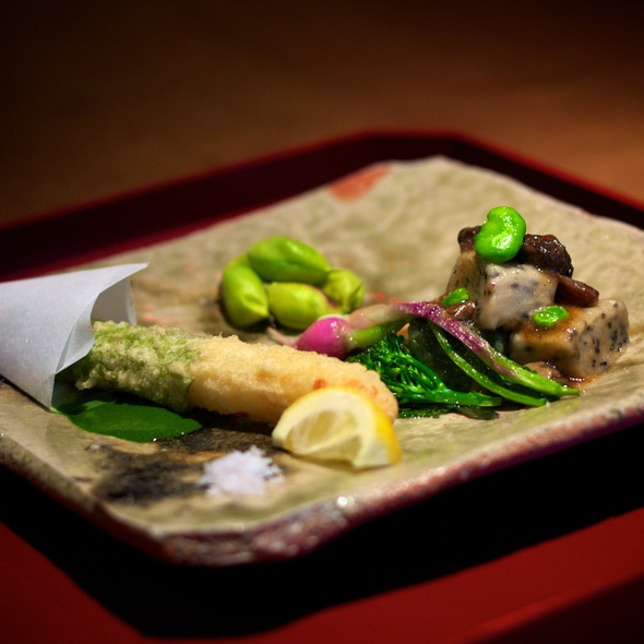 White Asparagus Tempura, Grilled Nama-Fu and Garbanzo Beans - Kajitsu, New York, NY