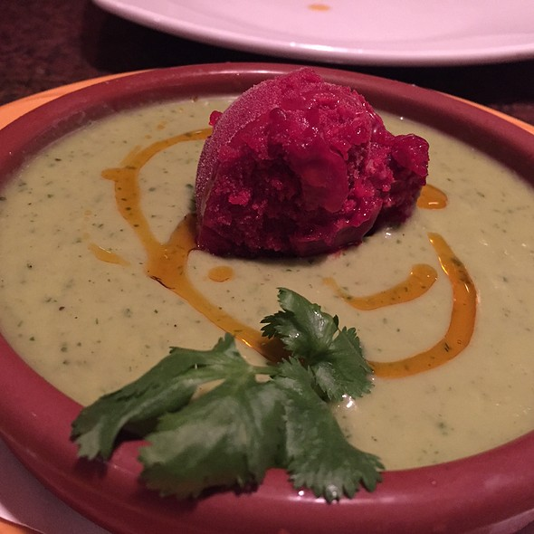 Cucumber Avocado Gazpacho With Beet Sorbet - Zolo Grill, Boulder, CO