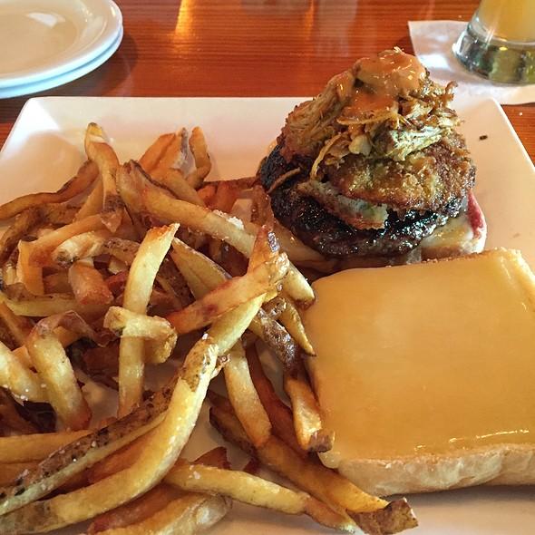 Burgur With Pork Carnitas Fried Green Tomato - Barlow's Restaurant, Boston, MA