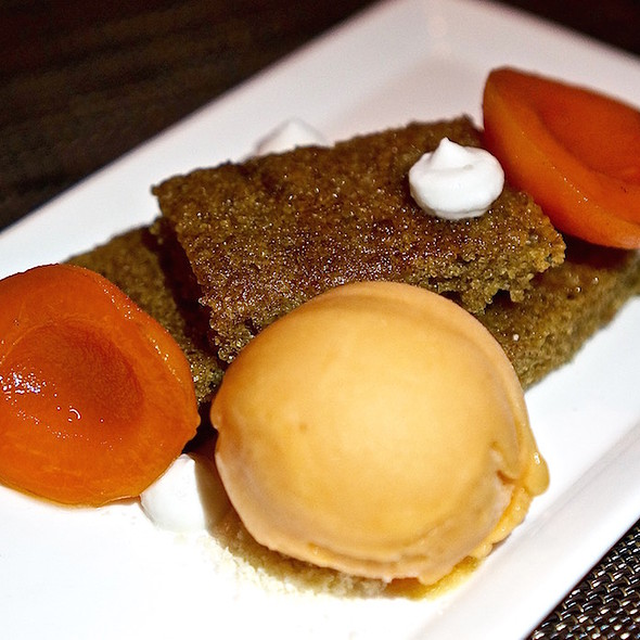 Vanilla bean infused summer apricots, coconut pudding, sweet rye cake, peach sorbet - Green Zebra, Chicago, IL