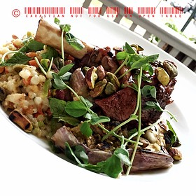 Slow Braised Bone In Lamb Shank With Mediterranean Couscous, Feta Pistachios And Mint - Cru Cafe, Charleston, SC