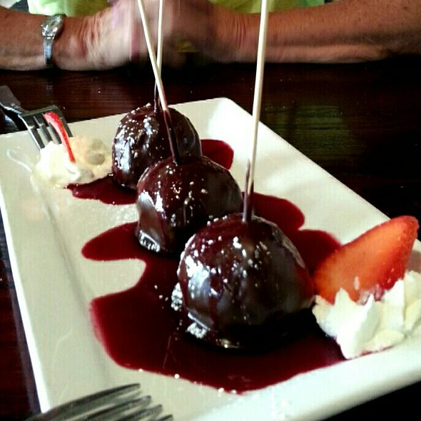 Ganache Cheesecake Pops and Cherry Sauce - Max Gill and Grill, Denver, CO