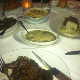 Prime Bone-In Ribeye, Porcini Rubbed Filet Mignon With Sides Of Asparagus, Chipotle Macaroni & Cheese, Sauteed Mushrooms & Creamed Spinach - Fleming's Steakhouse - Birmingham, Birmingham, AL