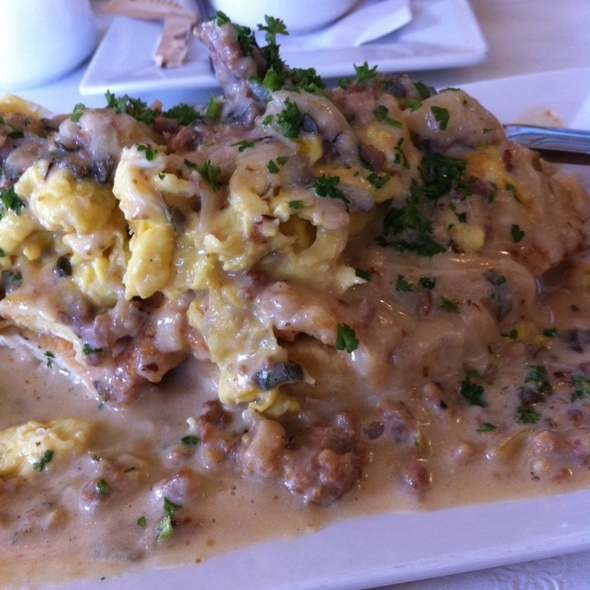 Biscuits And Gravy With Eggs And Fried Chicken Breast - Blue Haven, New York, NY