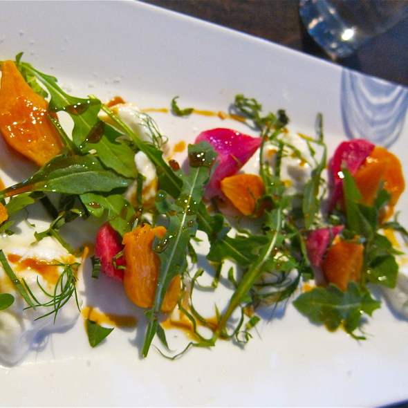 Roasted Baby Beets & Berkeley Burrata w/dill, mint, basil & aleppa chili oil - Marlowe, San Francisco, CA