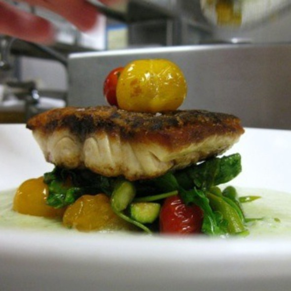 Striped Bass With Cucumber Cazpacho, Smoke Tomatoes, Summer Squash And Kale - Heirloom - New Haven, New Haven, CT