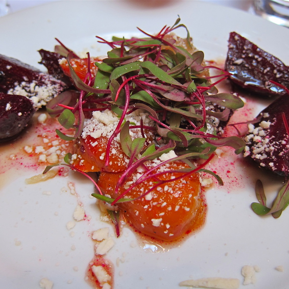 "ROASTED BABY BEETS / CIPOLLINE ""AGRODOLCE"" / TINY BEET TOPS / CASTELMAGNO CHEESE - Perbacco, San Francisco, CA"