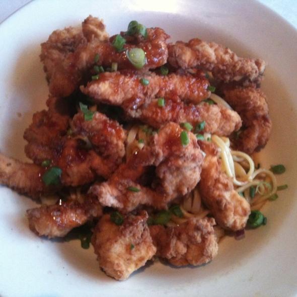Crispy Calamari Over Crispy Noodles - Frederick's Bistro, San Antonio, TX