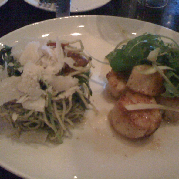 Seared Sea Scallops with a cold pesto spaghetti salad - Stephi's On Tremont, Boston, MA