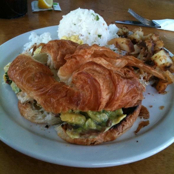 Avocado Croissant Scramble - Charley's Restaurant & Saloon, Paia, HI