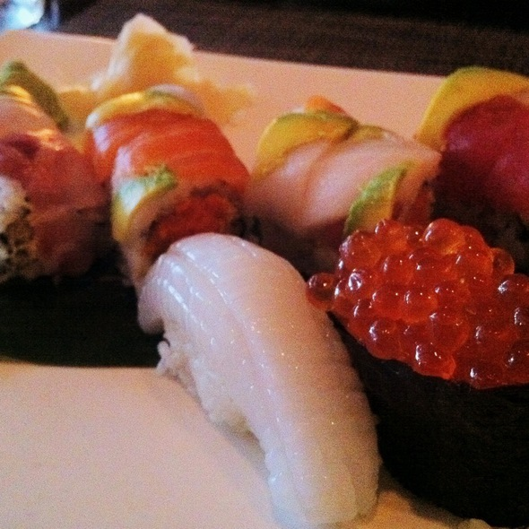 Spectrum Roll, Squid Sushi, & Salmon Roe Sushi - Yamato Restaurant, Brooklyn, NY