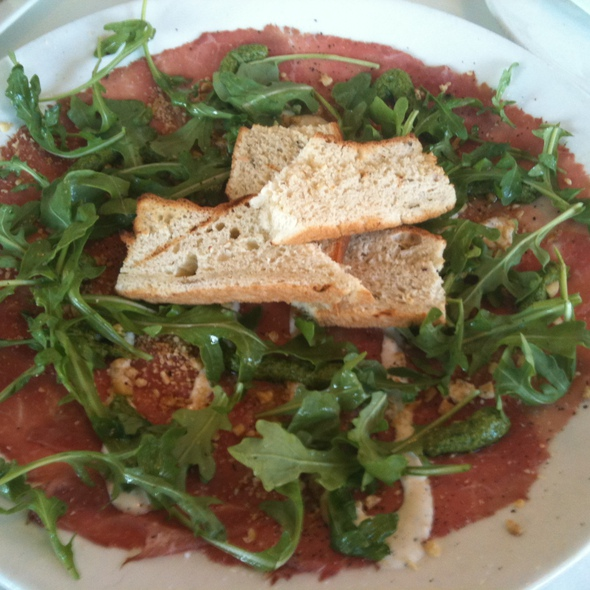 Beef Carpaccio / Arugula Pesto / Toasted Hazelnut / Parmesan Aioli / Grilled Toast - Stella, Boston, MA
