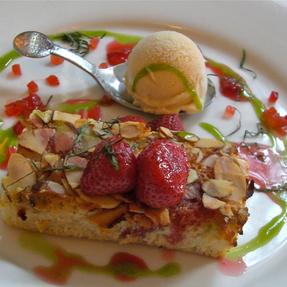 Slow Roasted Strawberries w/ Brown Butter Financier, Frozen Sabayon and Tarragon - Beacon Hill Bistro, Boston, MA