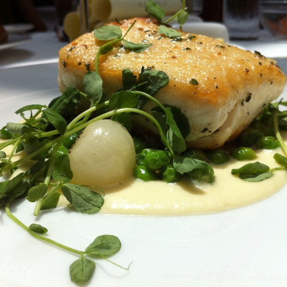 Halibut With Irish Peas, Spring Onions & Sauce Soubise - Restaurant Eve, Alexandria, VA