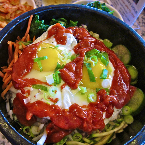 dol sot bi bim bap - seasonal vegetables over rice with choice of rib-eye topped with 2 sunny side-up organic egg - Stone Korean Kitchen, San Francisco, CA