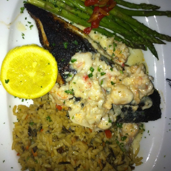 Blackened Red Fish With Lobster Butter, Asparagus, And Wild Rice Pilaf - Steiner Ranch Steakhouse, Austin, TX