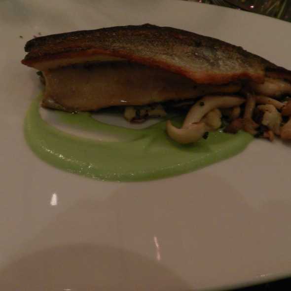 pocono mountain rainbow trout, smoked eggplant, buttermilk spaetzle, beech mushroom, fava bean coulis - Lotus Farm to Table, Media, PA