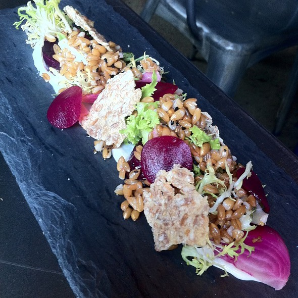 beets, farro, chicory, cream cheese, seeds vinaigrette - The Bent Brick, Portland, OR
