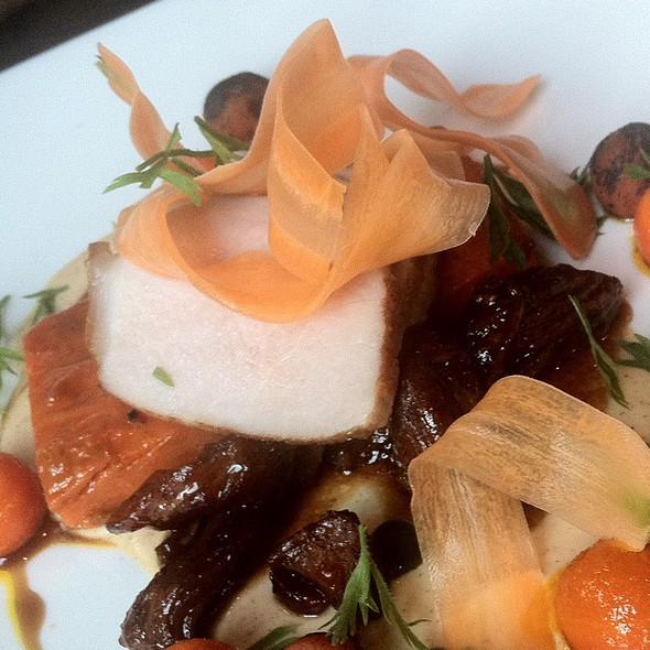Pork, Carrots, Root Beer Glaze, Almond Yogurt - The Bent Brick, Portland, OR