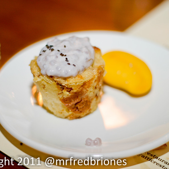 Bread Pudding with Ube Tapioca and baby mango - Attic, San Mateo, CA
