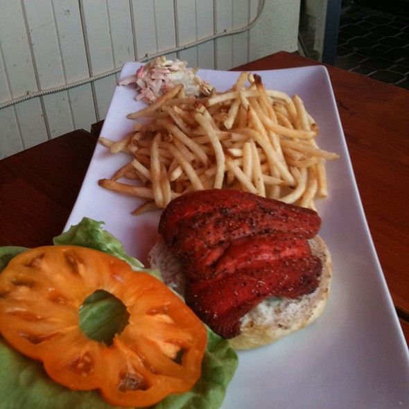 Salmon burger - Uli's Restaurant, White Rock, BC