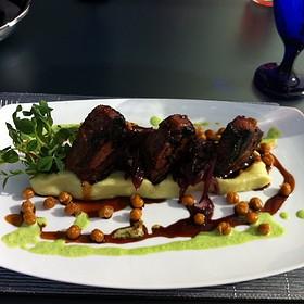 Miso Glazed Lamb Chops, Wasabi Mash Potatoes, Green Pea Puree And Fried Chickpeas. - Zinc Restaurant, Edmonton, AB