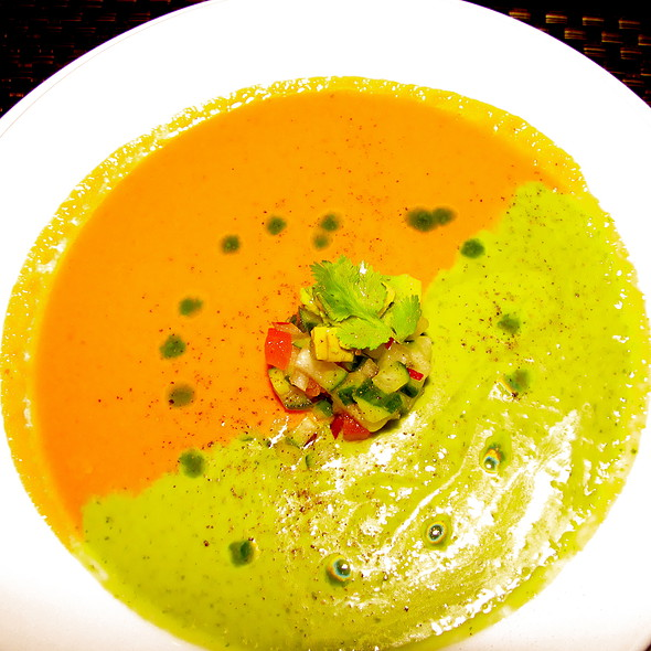 Red Pepper/Cilantro Soup - PAON Restaurant & Wine Bar, Carlsbad, CA