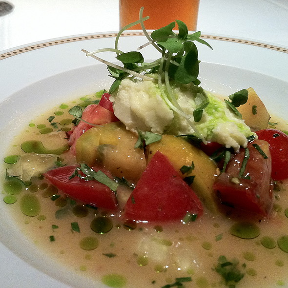 Heirloom tomato salad with lemon verbena consomme and olive oil ice cream - Tocqueville, New York, NY