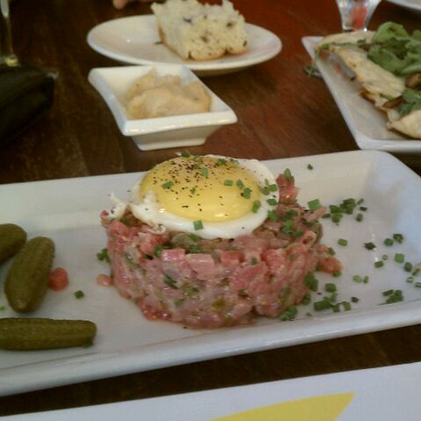 Bistecca Tartare / Fried Egg / Cornichon / Grilled Focaccia - Stella, Boston, MA