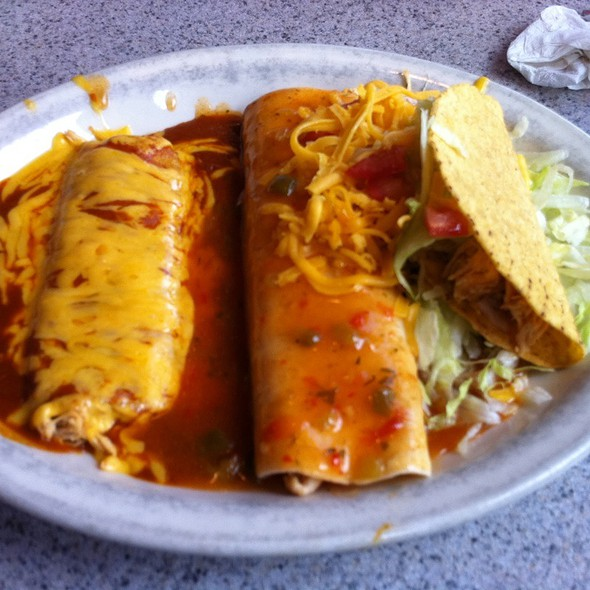 Chicken Taco, Chicken Burrito And Chicken Enchilada - The Blue Bonnet Restaurant, Denver, CO