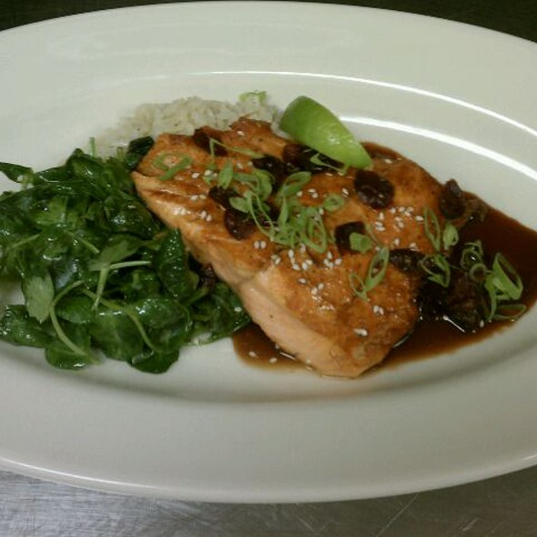 Wild Sockeye Salmon with Basmati Rice, Pea Tendrils and Cranberry-Soy Glaze - The Grillroom, Chicago, IL