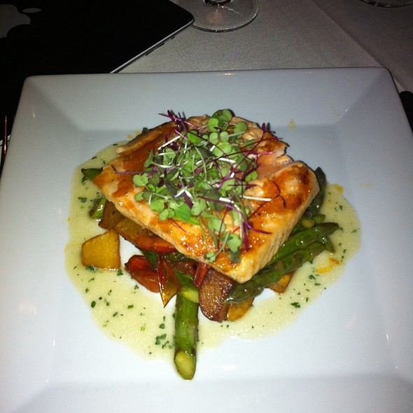 Arctic Char With Sun Dried Tomatoes, Asparagus  And Chive Sauce - Etcetera Etcetera, New York, NY