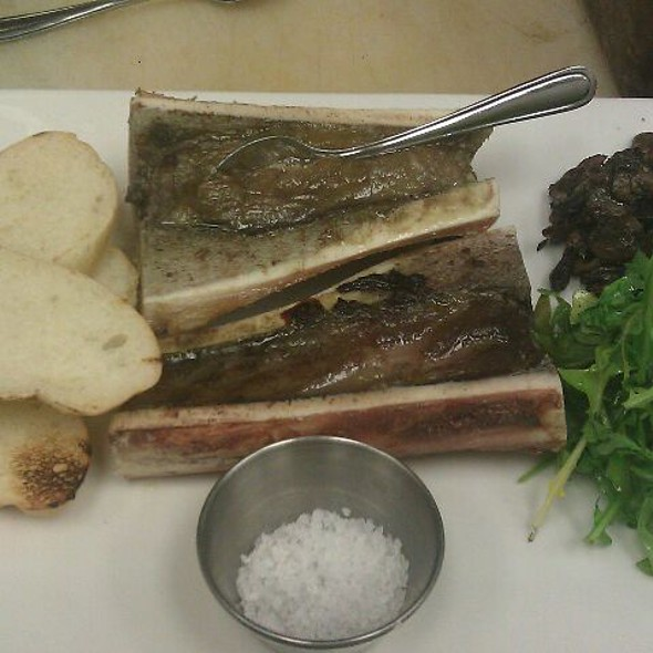 Roasted Bone Marrow, Salt, Arugula, Mushroom Salad - LUX Steakhouse + BAR94, Edmonton, AB