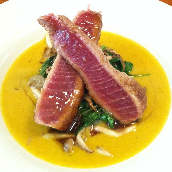 Pan Seared Yellowfin Tuna Over Butternut Squash Bisque With Sauté Of Spinach & Honsemeji Mushrooms With Butterscotch Drizzle. - MT's Local Kitchen & Wine Bar, Nashua, NH