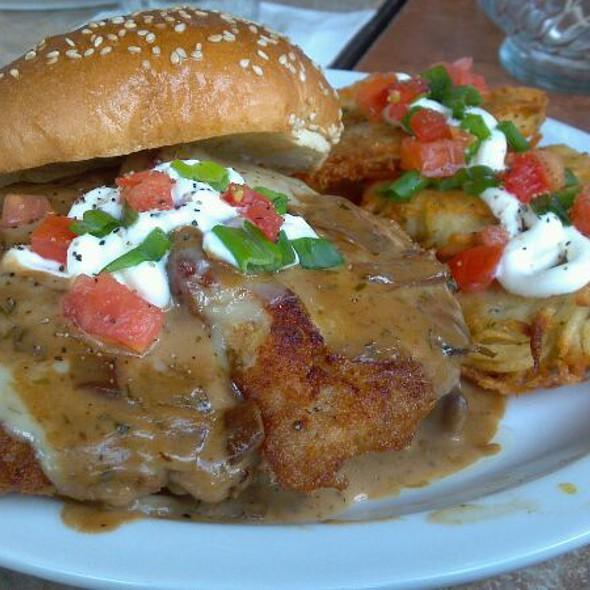 pork schnitzel sandwhich with potato pancakes - Atria's - Murrysville, Murrysville, PA