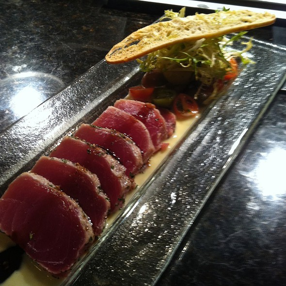 Herb Crusted Red Ahi, White Truffle Essence, Fig Balsamic Reduction - Ariccia Italian Trattoria & Bar, Auburn, AL