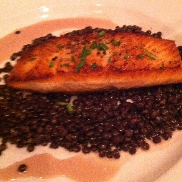 Seared Salmon Over French Lentils - Winds Café, Yellow Springs, OH