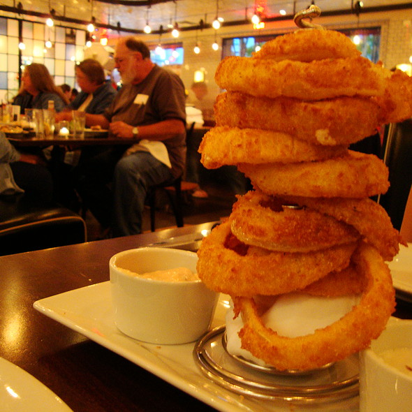 Stack of Cornmeal Crusted Onion Rings - 5 Napkin Burger - Boston, Boston, MA