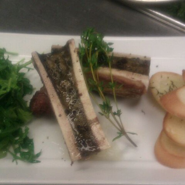 Roasted Bone Marrow, Arugula Salad, Smoked Sea Salt - LUX Steakhouse + BAR94, Edmonton, AB