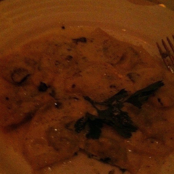 Spinach And Ricotta Ravioli With Black Truffle Cream Sauce - Bella Blu, New York, NY