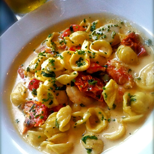 Orecchiette pasta w/scallops,shrimp,lobster & tomatoes in saffron cream - Easy Bistro, Chattanooga, TN