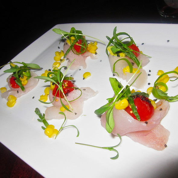 (Raw) Local halibut/ avocado/ corn/ sea beans/ tomato - Park Tavern, San Francisco, CA
