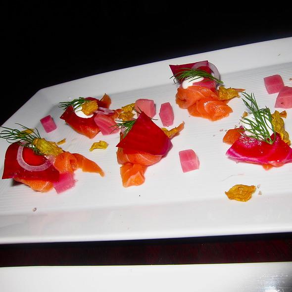 (Raw) Coho Salmon/ baby beets/ creme fraiche/ dill - Park Tavern, San Francisco, CA