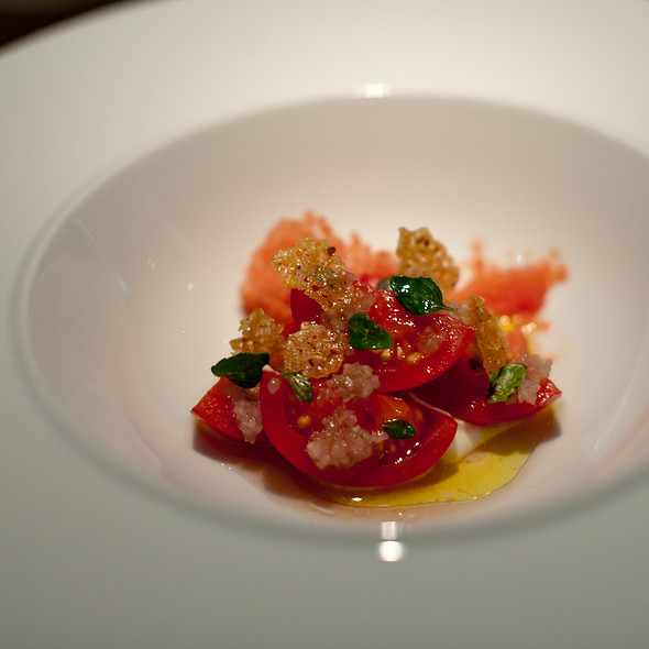 dry farmed tomato on ice, fresh cheese, pickled shallots and nepitella - Commis (Oakland), Oakland, CA