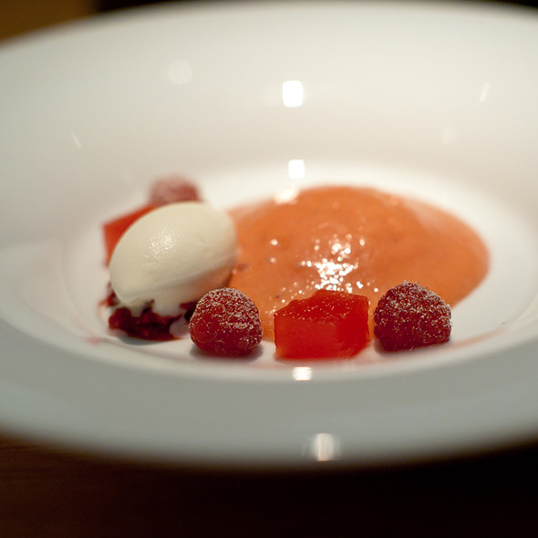 melon and raspberry chiffon with bavarian creme, white corn ice cream - Commis (Oakland), Oakland, CA