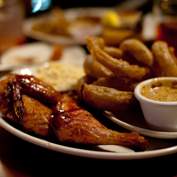 Barbeque Chicken, Onion Rings, and Creamed Corn - The Pit Authentic BBQ, Raleigh, NC