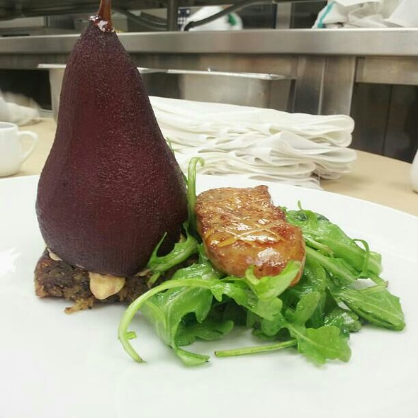 Red wine poached pear, Arugula, Foie Gras And Red wine reduction - The Summit, Cincinnati, OH