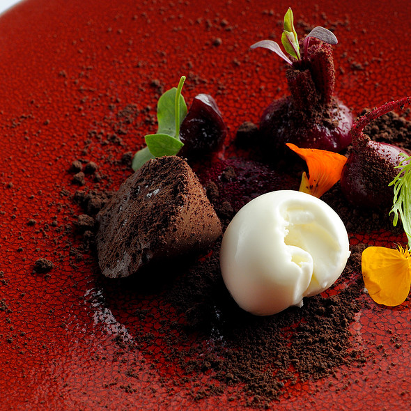 Chocolate mousse, beetroots, milk ice cream, chocolate soil - Texture Restaurant, London