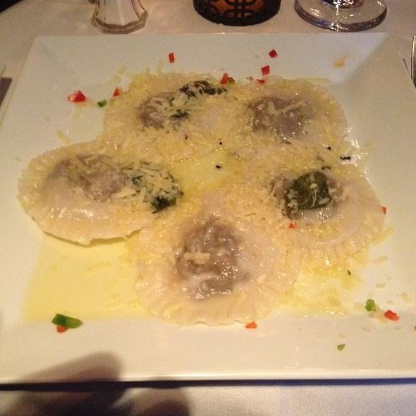 Ravioli Stuffed With Portobella And Porcini Mushrooms In Asparagus Sauce - Ristorante Piccolo, Washington, DC